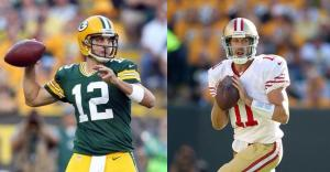 In a battle of the two top QBs taken in the 2005 draft, Bay Area local Aaron Rodgers (left) was ultimately outplayed by Alex Smith on Sunday.