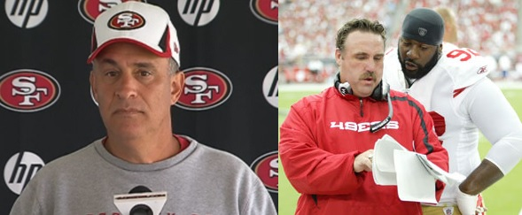Assistant coaches Vic Fangio (left) and Jim Tomsula could smoothly step into the 49ers head coaching position if absolutely necessary.