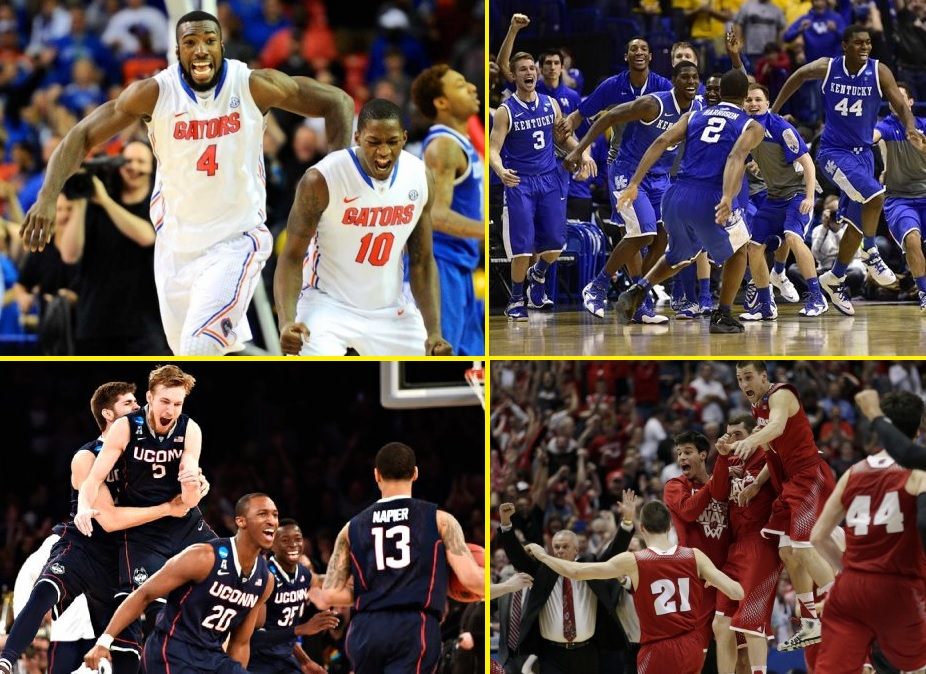 (Clockwise from upper left:) Florida, Kentucky, Wisconsin and UConn all took unique paths to the Final Four.