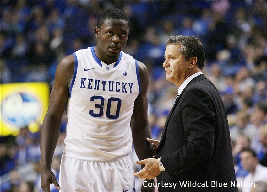 With another class of freshman phenoms led by Julius Randle (left), Kentucky head coach John Calipari is in his second Final Four in three years.