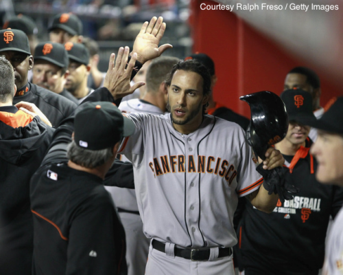 Michael Morse (center) continues to set a torrid offensive pace for the first-place Giants.