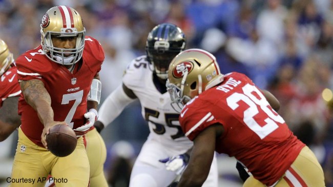 Rookie RB Carlos Hyde (right), thrust into a starting spot on Thursday night, impressed in his NFL debut.