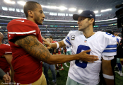 Colin Kaepernick (left) looked like his old self with 2 TD passes, while Tony Romo looked like a shell of himself with 3 INTs in a 49ers 28-17 win.