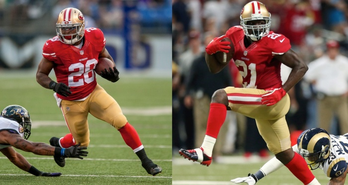 The RB duo of Carlos Hyde (left) and Frank Gore could be the most effective in the league - yet they don't get much of a chance to be effective.