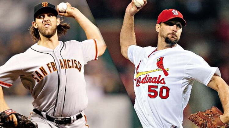 Pitching - especially by aces Madison Bumgarner (left) and Adam Wainwright - will likely determine who represents the NL in the 2014 World Series.