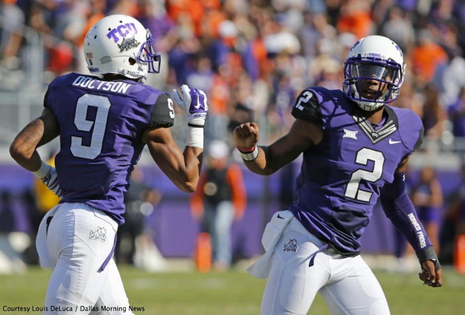 TCU QB Trevone Boykin (right) has impressed in his third year as starting QB for the Horned Frogs.