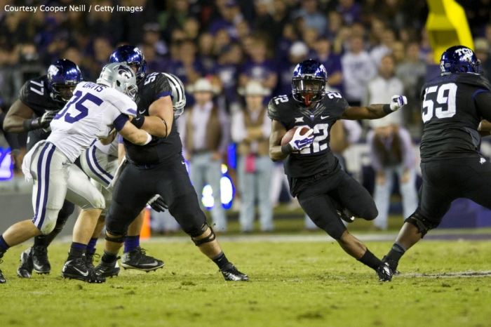 With RB Aaron Green's (#22) game-high 171 yards on the ground, TCU powered to a 41-20 blowout over No. 7 Kansas State on Saturday night.