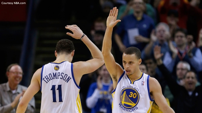"""Splash Brothers"" Stephen Curry (right) and Klay Thompson has the Warriors off to a league-best 23-4 record."