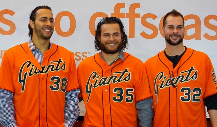 While Michael Morse (left) is no longer with the World Champion Giants, SS Brandon Crawford (center) and SP Ryan Vogelsong were recently retained.