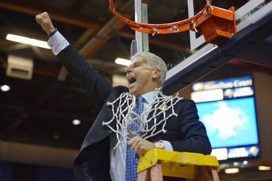 UC Davis head coach Jim Les cut down the nets for the first time in school history, winning the Big West regular season championship earlier this month.
