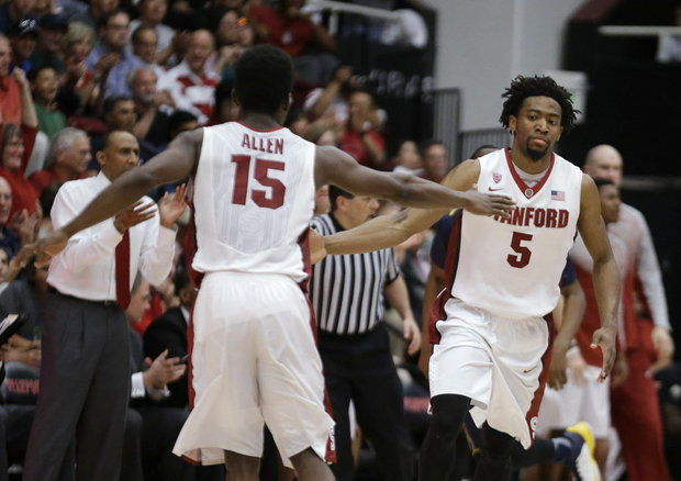 Stanford guards Marcus Allen (left) and Chasson Randle combined for 40 points in the NIT win vs UCD.