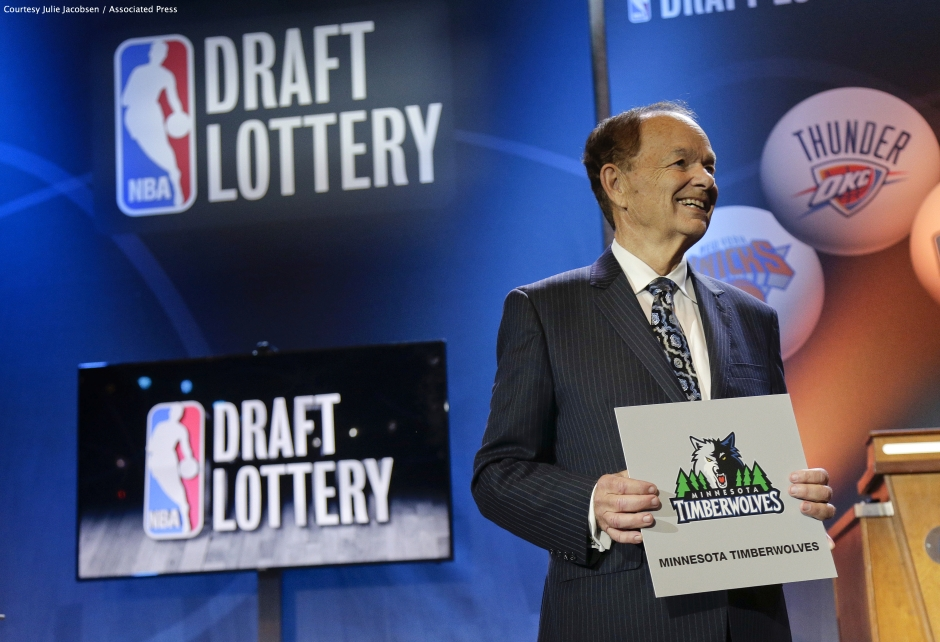 Timberwolves owner Glen Taylor was all smiles, after his 16-win franchise won the coveted No. 1 selection in the 2015 NBA Draft.