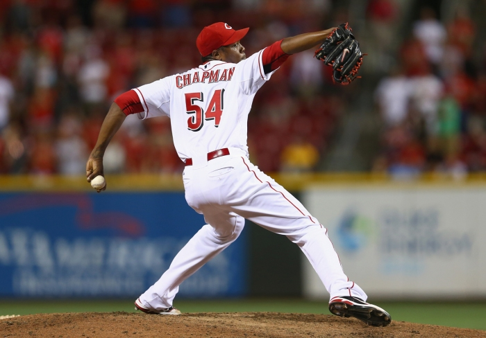 Reds fireball closer Aroldis Chapman has been in many rumors as a trade target for the San Francisco Giants to bolster the bullpen.